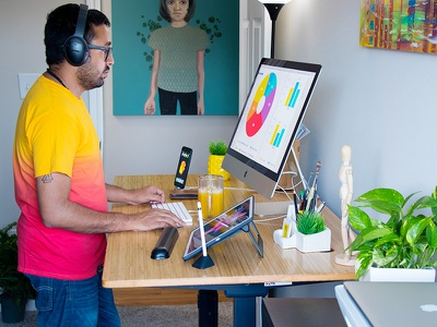 Home workspace unsplash houston paintings designer art workplace studio apple pencil standdesk ipad pro imac5k desktop
