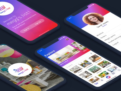iPhone X - Concept App shopping app mockup colors gradient sketch ux workshop aiga houston ios 11 iphone x