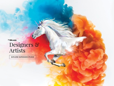 RapidGems - Homepage Design website painting illustration ipadpro colors art homepage header semplice rapidgems procreate banner