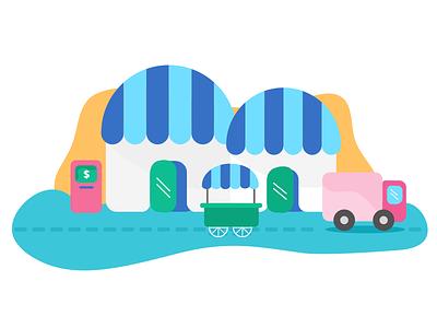 Marketplace shipping seller enjoy light shop offset illustration marketplace