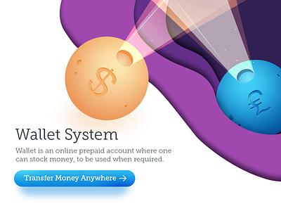Wallet System - Transfer Money easy 3d feel effect color planet webkul photoshop illustration money transfer system wallet