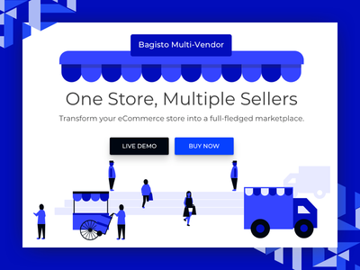 Multi Vendor Marketplace webkul sketchapp opensource savi laravel marketplace webpage bagisto illustration