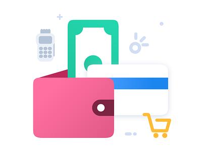Wallet System branding logo design savi marketplace wallet webkul illustration