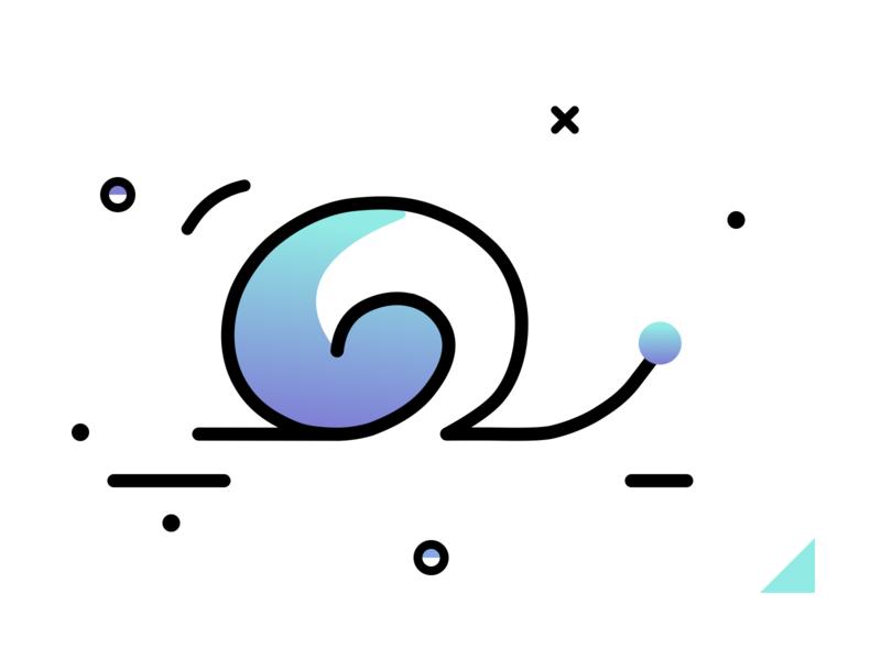 Snail snail simple shapes logo lineart gradient