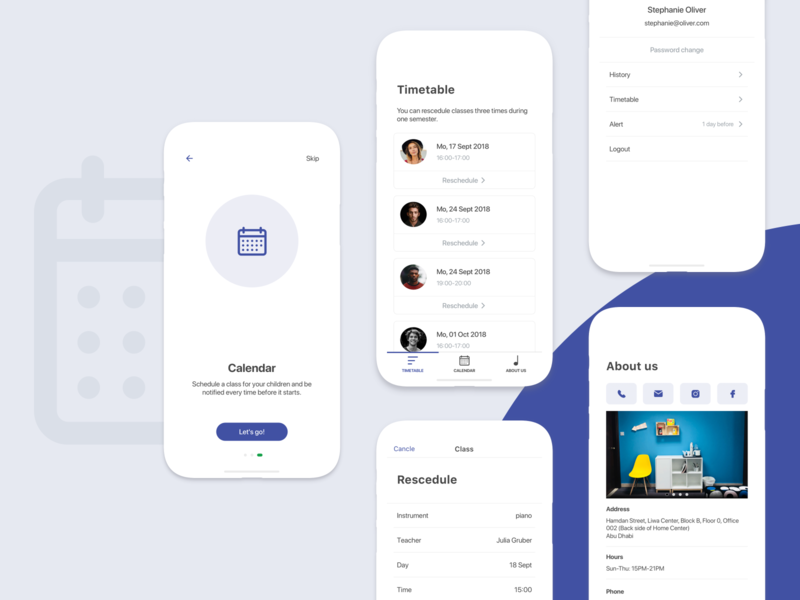 Music Appointment App student payment school schedule appointment music design ios ux ui mobile