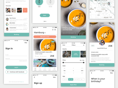 Chef App screens mockup ux ui mobile ios cooking chef