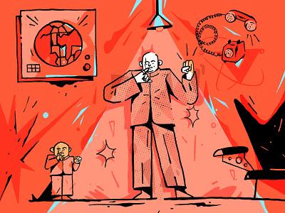 Happy Birthday Dr. Evil flat character design evil character illustration