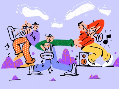 Trumpeters festival concert fun procreate jazz band music character illustration