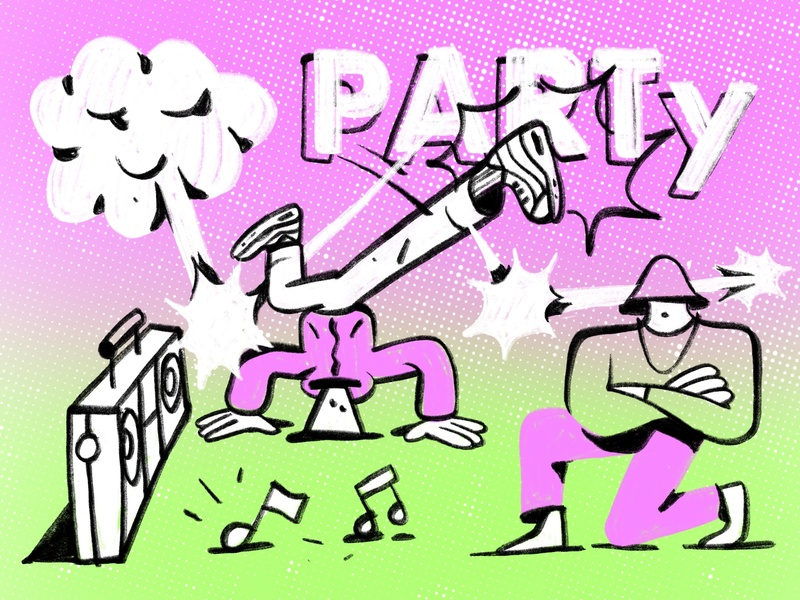 Breakdance Party flat 2d cool bright colors music party friday b-boy breakdancing break dance chill character llustration