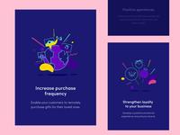 Illustrations for Altrüus Website illustration ribbon vibrant emotion emotional social zajno bright colors gift present fun character