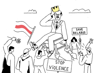 Go Away! Save Belarus! satire humour 2020 democracy flag demonstration animated illustration king belarus protest zajno character illustration