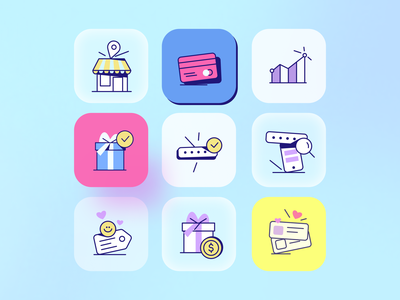 Icons for Altrüus Gifting Platform character dashboard smile emotion gift box zajno bright colors icons gift present design illustration icon