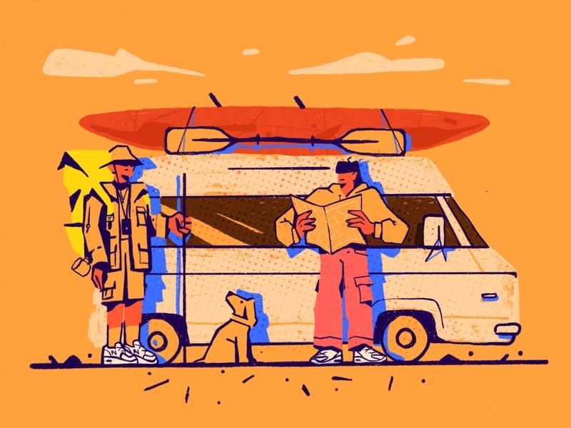Let's go kayaking! tour trip vacation fun sunset teambuilding dog minivan canoe kayaking kayak team red zajno bright colors character illustration
