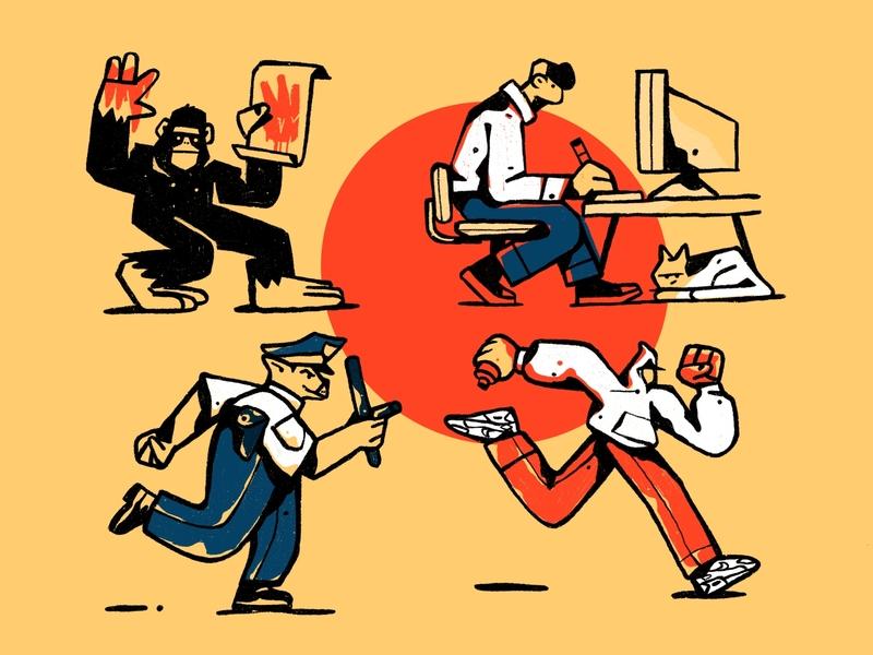 Self-Expression police digital artist graphic designer illustrator graffiti artist art self expression gorilla character design zajno bright colors character illustration