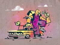 Post-Apocalypse and Hope purple ipadpro ipad procreate texture hope car flower apocalyptic post-apocalyptic apocalypse character design zajno bright colors character illustration