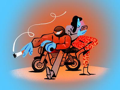 The Bike Illustration bad guys cool girl cigarette biker bike ipadpro ipad procreate character design zajno bright colors character illustration