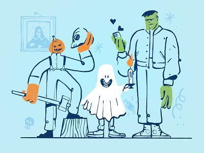 Spooky Season october spooky ghost pumpkin halloween inspiration ipadpro ipad procreate character design zajno bright colors character illustration