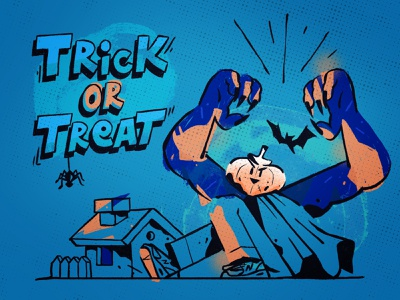 Trick or Treat? 2020 jack procreate ipad pro inspiration monster pumpkin creepy spooky dribbbleweeklywarmup drawing flat character design zajno character illustration