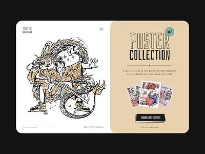 Poster Collection Landing Page character illustration samurai japan shop distribution collection inspiration poster landing page