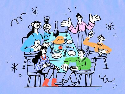 Happy Thanksgiving character design inspiration procreate ipad pro art thanks care fun love gathering food holiday celebration family dinner thanksgiving character illustration zajno