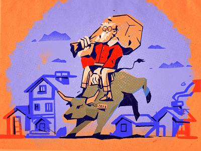 Happy New Year! rodeo ride ox winter 2021 celebration holiday new year character design inspiration procreate ipad pro character illustration zajno