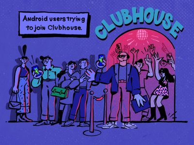 Clubhouse - No Android, iPhone Only bouncer nightclub club music social humour joke dress code ios android iphone clubhouse vibrant bright colors character design inspiration procreate ipad pro character illustration zajno