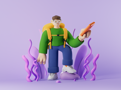 3D Hiker Illustration travel backpacking backpack tourist traveling hiking c3d cinema4d character illustration 3d zajno