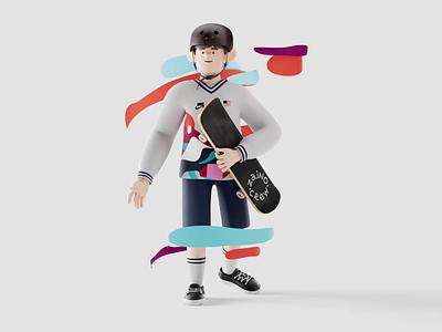 Animated 3D Olympics Skateboarding Character substancepainter mixamo skateboard bright colours skateboarding olympics illustration tokyo helmet olympic cinema 4d c4d 3d model 3d animation zajno