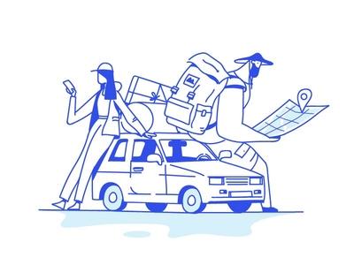 Tourism girl boy car tourism character characterdesign artwork illustration