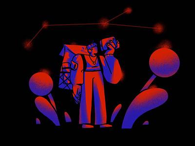 Interstellar Tourist ipadpro characterdesign style futuristic constellation dark cosmos space trip photo travel minimal tourist emotion character simple inspiration illustration experiment zajno