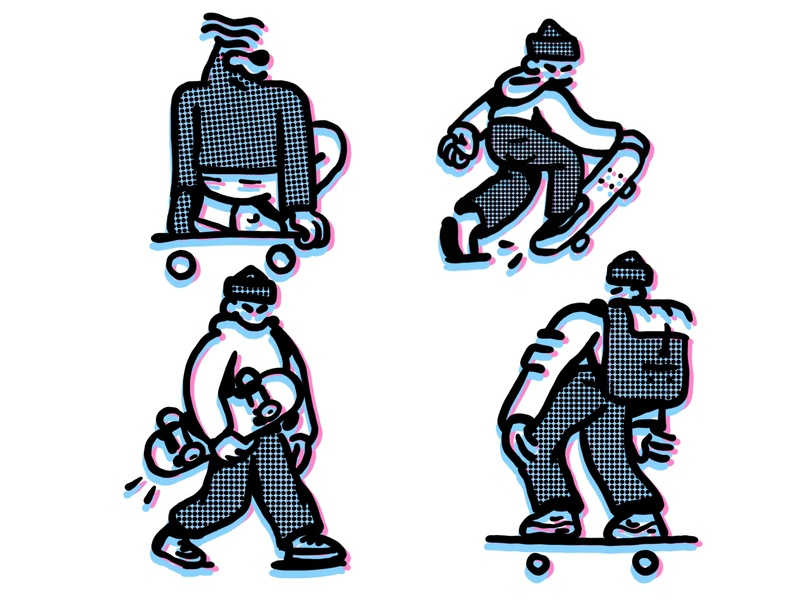 Skateboarding Glitch Illustration underground trend fashion urban progressive style experimental texture glitch skateboard brutal bold ipad pro character procreate ipad pro hand drawn character design expressive inspiration illustration zajno
