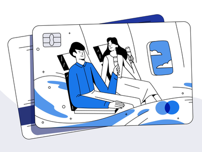 Illustration for a Travel Reward Credit Card Service Website happy customer bank finance flight credit card travel illustrated emotion vector clean simple minimal drawing design flat art animation animated character animated illustration inspiration illustration zajno