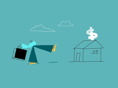 Collapsing Bank Animated Illustration finance character design bank frame by frame cel animation vector illustrated creative simple minimal drawing animated flat art character animation procreate ipad pro inspiration illustration zajno
