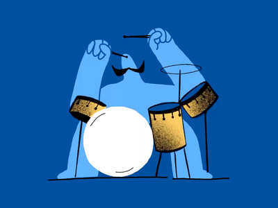 Movember Drummer process music moustache mustache movember drummer drum frame by frame animation simple minimal drawing flat art character design procreate ipad pro inspiration illustration zajno