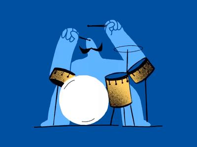 Movember Drummer process music moustache mustache movember drummer drum frame by frame animation simple minimal drawing flat art character design procreate ipad pro inspiration illustration zajno