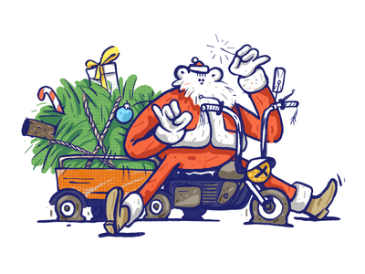 Happy Holidays! santa claus christmas illustration design character zajno