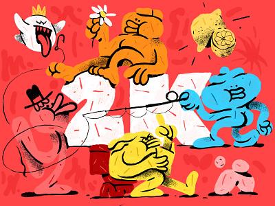 2K Followers 🎉 flat illustration design character zajno