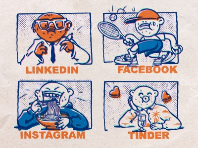 LinkedIn, Facebook, Instagram, Tinder flat meme illustration design character zajno