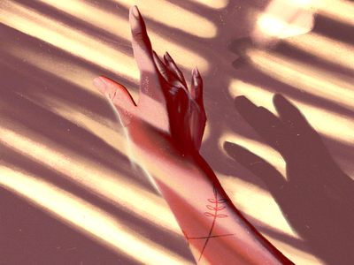 Light touch waterpen hands daylight sunlight blinds contrast fingers tattoos hand shadows highlights procreate illustration