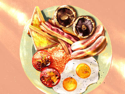 English breakfast breakfast club beans shadows light sunlight illustration food brunch mushrooms tomatoes eggs toast bacon sausages fry up english breakfast breakfast