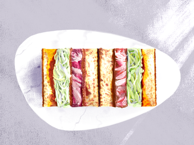London Eats | Tou Iberico Pork Katsu Sando toast bread meat cabbage shadows sunlight highlights illustration japanese sandwich food pork iberico katsu sando