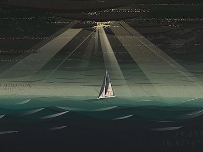 South Atlantic illustration waves light boat ocean south atlantic