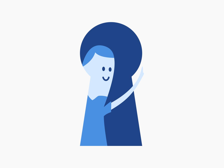 Secure login happy person lock blue sketch