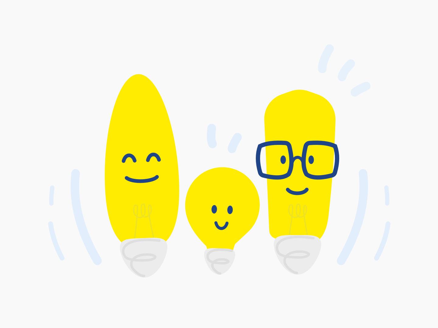 Brighter together lightbulbs happy family sketch