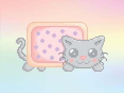 Nyan Cat pastel kawaii nyan-cat pixel-art