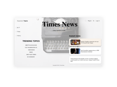 """Times News"" - user landing interface design preview"