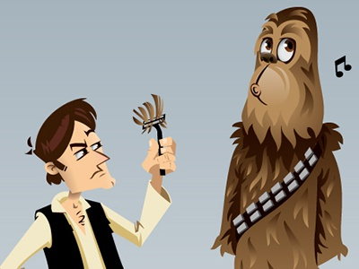 Han And Chewie chewbacca chewie chico razor hair fur han solo star wars han solo