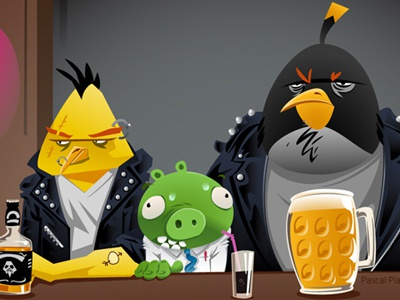 Poor pig pig rock beer whiskey bar pub coca angry bird