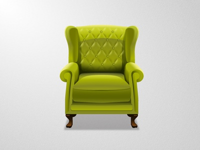 Armchair armchair chair green icon illustration rubbik