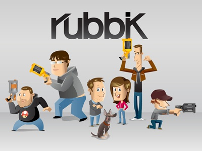 The Rubbik's crew crew dog illustration team rubbik pink vector identity brown grey blue yellow red nerf